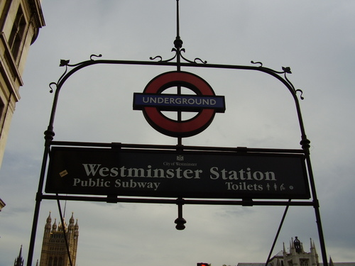 Tube entrance to Westminster Station